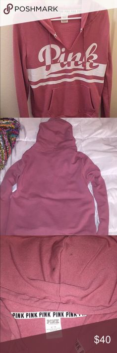 Victoria's Secret Hoodie Pink Victoria's Secret hoodie. Only worn 1 time. 2 tiny stains on hood--can barely see. As shown in picture, you cannot see them from the back of the hoodie. Victoria's Secret Tops Sweatshirts & Hoodies