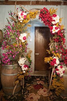 This ceremony took place in the region's oldest wine cellar. A branchy arch was twined with tree peonies, bougainvillea, and golden grevillea. Ceremony Arch, Wedding Ceremony Decorations, Arch Wedding, Backdrop Wedding, Wedding Ideas, Floral Wedding, Wedding Bouquets, Wedding Flowers, Floral Arch