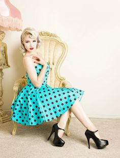 Teal Polka Dot Dress-Too cute! Love the retro look.