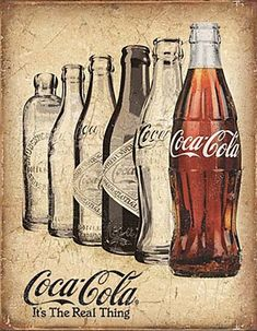 Coca Cola It s The Real Thing Bottle History metal sign 405mm x 315mm de