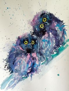 ARTFINDER: Owl chicks by Kovács Anna Brigitta - Original watercolour painting on high quality Hahnemühle watercolour paper. I love landscapes, still life, nature and wildlife, lights and shadows, colorful ...