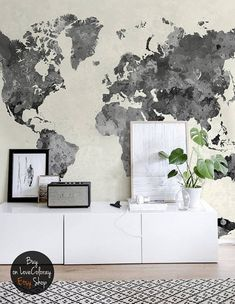 Vintage world map removable wallpaper pale wall mural peel deco self adhesive wall mural my wall murals are printed on an innovative self adhesive material which allows them to be applied and peeled multiple gumiabroncs Choice Image