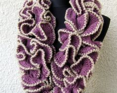 CROCHET Ruffle Scarf PATTERN DIY Crafts Unique от LyubavaCrochet