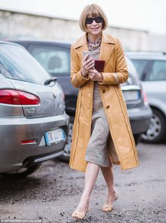 Anna Wintour in Prada coat - outside the Bottega Veneta Fall 2015 show at Milan Fashion Week - February 28, 2015
