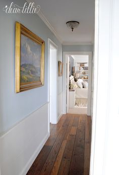 This back hall connects the two bedrooms downstairs, or what used to be the master bedroom and library. Our uncle was a great reader, a. Hallway Paint Colors, Interior Paint Colors, Room Colors, House Colors, Two Bedroom, Master Bedroom, Bedrooms, House Color Palettes, Dear Lillie