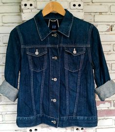Vintage GAP Jean Jacket / Vintage Dark Blue Jean Jacket GAP Women Size M by Joyjean645Vintage on Etsy