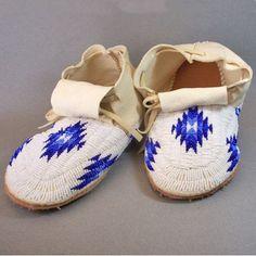 Beaded Moccasins, Man's - Blue & White - by Ina Espinoza (Oglala Lakota)