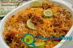 mutton-lemon-biryani Pakistani Rice, Biryani, Rice Dishes, Fun Cooking, Rice Recipes, Chili, Curry, Spices, Lemon