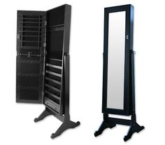 Keep your beautiful jewellery and accessories organised and displayed neatly with this Large Wooden Mirrored Jewellery Storage Cabinet. Made from wood with a black finish that will blend elegantly in with your home decor. $130.00 AUD .... I love it!