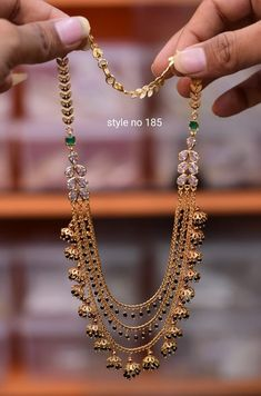 Jewelry OFF! Gorgeous one gram gold long haaram with multi layer beads chains. Gold Mangalsutra Designs, Gold Earrings Designs, Fancy Jewellery, Gold Jewellery Design, Gold Chain Design, Gold Jewelry Simple, Bridal Jewelry, Fashion Jewelry, Indian Gold Necklace