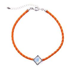 Orange Leather Geometry Gemstone Choker Necklace