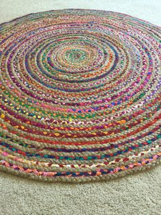 Round Jute Rug 8 Feet, Boho Chic Hippie Area Rug, Vegan Colorful Jute Cotton Rugs, Indoor Outdoor, Braided Large Floor Rug, FREE US Shipping
