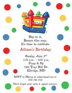 Bounce House Party Invitation Trampoline Party Invitation Jump