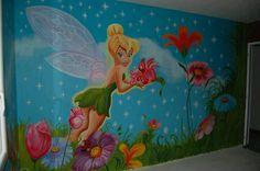Fresque murale «la Fée clochette» www.peintures-by-sarah.com