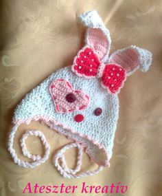 Crocheted rabbit bunny hat with beaded bow, baby hat, Baby beanie, infant hat, photo prop, baby shower, newborn hat ,baby clothes