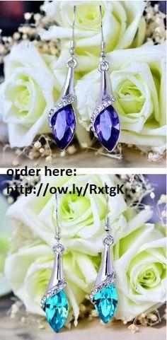 Water Drop Crystal Rhinestone Dangle Earrings FREE shipping worldwide 4.99 usd for order click on picture. Crystal Earrings, Crystal Rhinestone, Dangle Earrings, Water Drops, Red Roses, Dangles, Crystals, Purple, Free Shipping