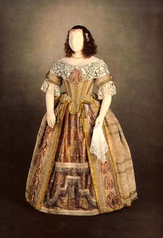"""Fancy dress worn by Queen Victoria to a bal costumé themed, """"The Court of Charles II,"""" June 13, 1851"""