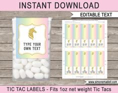 Unicorn Tic Tac Labels | Unicorn Birthday Party Favors | Unicorn Theme Printable Template | Instant Download via simonemadeit.com