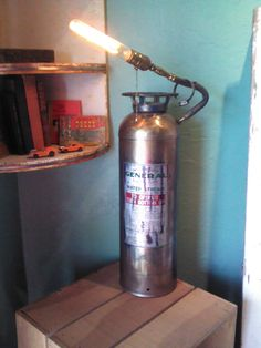 Antique Fire Extinguisher with Edison Bulb