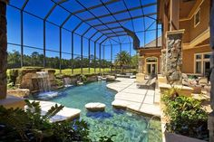Traditional Swimming Pool with Fountain, Skylight, Indoor pool, Pool with hot tub, Screen enclosure, Pathway