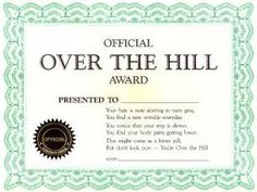 joke Certificate | Official Over the Hill Award