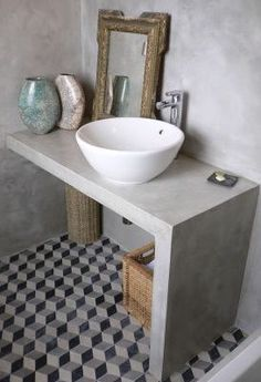 Interior design of a bathroom can either be made in the same style with the rest of the house design, or radically different from it. Decor, Rustic Mirrors, Interior, Vintage Bathrooms, Home Decor, Concrete Bathroom, Small Bathroom, Bathroom Design, Bathroom Decor