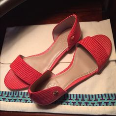 NWT Tory Burch Sandals FIRM less on 〽️ Beautifully detailed embossed leather sandals in a gorgeous melon color. Dress up or down for any occasion! Comes in original box, dust bag and gift bag!  No trades! Tory Burch Shoes Sandals