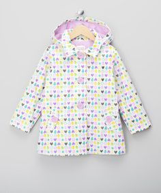 toddler girls raincoats white-lilac