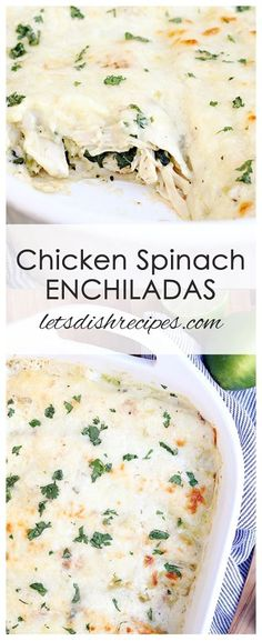 Chicken Spinach Enchiladas Recipe | A cheesy chicken and spinach mixtures is rolled in flour tortillas and baked in a creamy green chile sauce.
