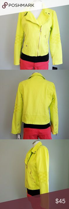 Steve Madden Denim Moto Jacket Steve Madden Denim Moto Jacket in a Bright Highlighter Yellow. Fully lined with a fun pop of pink on the interior piping. Perfect details from the gold zippers, zippers on the arm cuffs, quilt stitching at elbow, line stitch details at the back and cuffed shoulders. Seriously gorgeous and fun! Size Large. New with tags. No flaws. Steve Madden Jackets & Coats