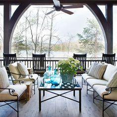 Porch with lake view - Architect Brad Wright, Barbara Westbrook Interiors