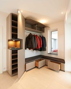 Here's things with items stored in the closet portion. I don't really know if I want our clothes to be the focal point. Hallway Wall Decor, Hallway Walls, Hallway Decorating, Hallway Lighting, Bedroom Cupboard Designs, Bedroom Cupboards, Modern Hallway, Modern Wall Decor, Hall Furniture