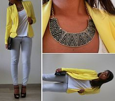 Grey, White, Yellow & Black. Zara Blazer, New Look Peep-Toes