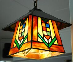 Prairie Style Stained Glass Lantern by DodgeGlassStudio on Etsy, $395.00