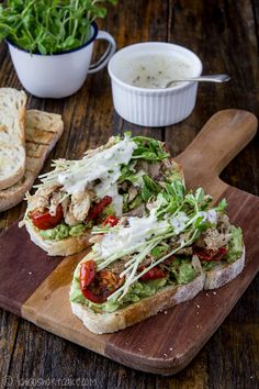 Avocado & Chicken Sandwich with Snow Pea Sprouts and Semi-Dried Tomatoes