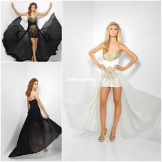 Wholesale On sale 2013 Sexy Sweetheart Black/white Chiffon Hi-Lo Asymmetrical Graduation Dresses Sequins Beaded Ruffles Prom Dresses R9606, Free shipping, $153.99/Piece | DHgate
