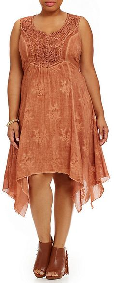Plus Size Embroidered Hi-Low Dress