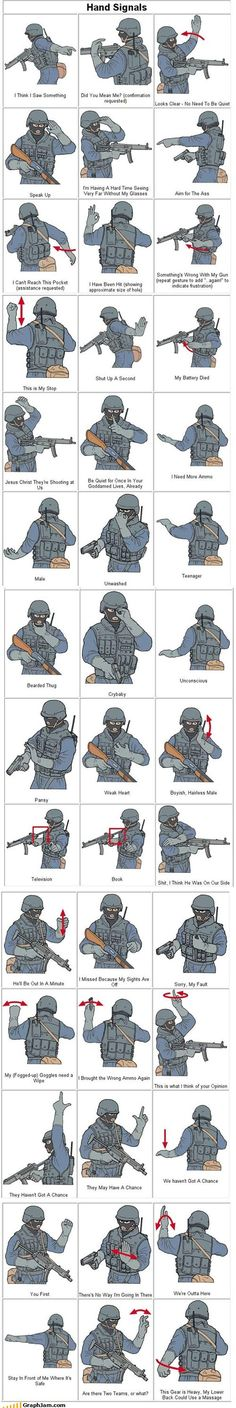 SWAT/Military hand signals- the funny thing is, after spending 21 yrs in the army, i find this pin to be totally accurate