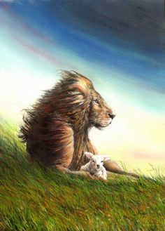 Lion and Lamb   -   Lynne Pugh's Gallery   I have this as a card at home love it