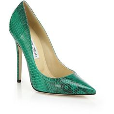 Jimmy Choo Anouk Snakeskin Point Toe Pumps ($795) ❤ liked on Polyvore featuring shoes, pumps, heels, apparel & accessories, green, snakeskin shoes, jimmy choo, pointed toe shoes, jimmy choo pumps and snake print pumps