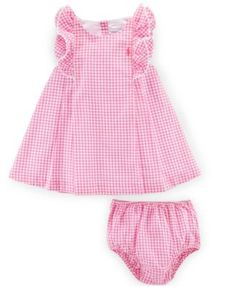 Sleeveless Double-Face Gingham Shift Dress w/ Bloomers, Pink, Size Months by Ralph Lauren Childrenswear at Neiman Marcus. Baby Girl Skirts, Little Dresses, Little Girl Dresses, Baby Outfits, Kids Outfits, Baby Dress Design, Baby Dress Patterns, Ralph Lauren, Frocks For Girls