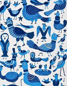 Song Birds Tea Towel - Finland                       by Kauniste Laululinnut