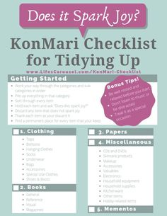 """Easy KonMari Checklist - Tidying Up with Marie Kondo is a popular way to tidy and organize your home. This KonMari Checklist takes you through the categories and steps needed to get your home organized! Finally """"spark joy"""" in your home! Deep Cleaning Tips, Cleaning Hacks, Cleaning Schedules, Speed Cleaning, Cleaning Checklist, What Do You Feel, How Are You Feeling, Hydrogen Peroxide Uses, Konmari Method"""