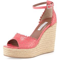 Tabitha Simmons Harp Eyelet Leather Wedge Sandal ($168) ❤ liked on Polyvore featuring shoes, sandals, coral, wedge heel sandals, leather strap sandals, woven leather sandals, strappy sandals and braided leather sandals