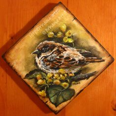 Brîndușa Art House sparrow - painted plaque, acrylics on wood. x inches x 14 cm). 14 x 14 cm. House Sparrow, Image Transfers, No Image, Love Images, Heavenly Father, Painting On Wood, Decoupage, Shabby Chic, Cottage