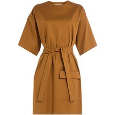 MSGM Cotton-Blend Dress (278 AUD) ❤ liked on Polyvore featuring dresses, robes, платья, camel, slim fit dress, kimono sleeve dress, cotton blend dresses, camel dress and slimming dresses
