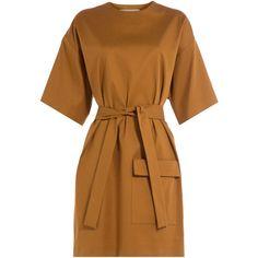 MSGM Cotton-Blend Dress ($345) ❤ liked on Polyvore featuring dresses, camel, retro dress, slim fit dress, cotton blend dresses, safari dress and camel dress