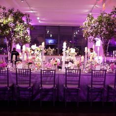 Pink and Purple Reception Decor // Jacquelyn Poussot Photography // http://www.theknot.com/weddings/album/a-romantic-jewish-wedding-in-new-york-ny-138139