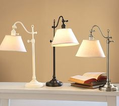 "Guest Room. $99each or 189set of 2.  15.5"" wide x 9"" deep x 20.5"" high; adjusts to 24"" high.  Adair Bedside Lamp #potterybarn"