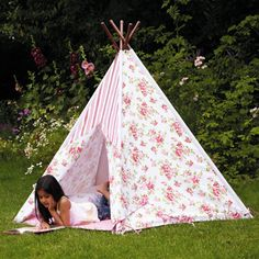 Floral Wigwam - makes a lovely playhouse for children. Perfect for warm summer days in the garden or to take camping.